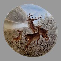 Austrian Majolica Wall Charger with Buck, Deer Family