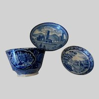 Antique c1830s Blue Staffordshire Transfersware, Cup, Cup Plate, Butter Pat
