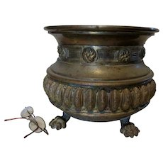 Antique English Brass Jardiniere Planter with Lion Claw Feet