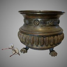 Antique English Brass Jardiniere Planter with Lion Claw Feet