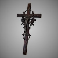 Lovely Antique European Hand Carved Christian Crucifix