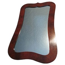 Fine Antique Circa 1870s Mirror, Crotch Mahogany, Original Glass