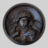 Antique Bradley & Hubbard Victorian Plaque of a Lovely Young Girl