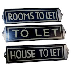 3 Vintage Tin Advertising Signs, House to Let, Rooms to Let, To Let
