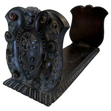 Fine Antique Italian Carved Bookends, Angel & Gargoyle, Cutler & Girard