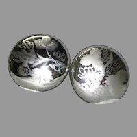 Pair Antique Circa 1880s Mercury Glass Tiebacks, Engraved Grapes