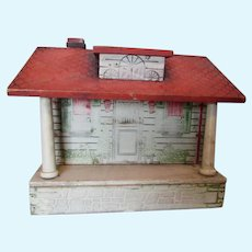 Antique Wood Doll House, Cottage Building, Toy
