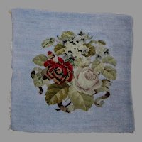 Antique French Beaded, Needlepoint Tapestry with Roses, Opalescent Beads