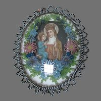 Antique French Beaded Icon, Christianity Picture, Madonna & Child