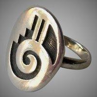 Hopi Sterling Silver Overlay Oxidized Ring Gary & Elsie Yoyokie 6.3 Grams Sz 7