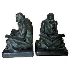 Antique Arts & Crafts, Cowan Art Pottery Bookends, Monks Reading Books