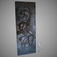 Antique Gargoyle, Winged Harpy Mythological Plaque Signed JJ Labaer