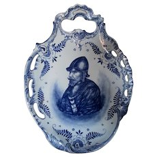 Antique Royal Bonn, Old Delft Plaque with Portrait of Soldier