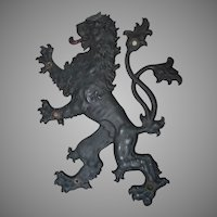Antique Rampant Lion Plaque, Metal Architectural Element, Sign