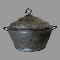 Fine Antique 19thC Primitive Tin Tureen, Tinsmith Made