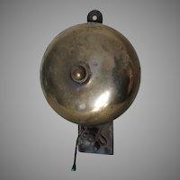 Antique Wall Mount, Brass Store Bell, Dinner Bell