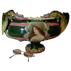 Antique Majolica Centerpiece with Dragons & Lovely Lady