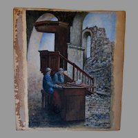 World War I Watercolor Painting, French Soldiers in Ruined Church, Signed
