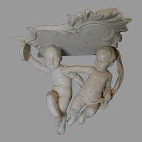 Antique Italian Art Pottery Majolica, Faience Cherub Shelf