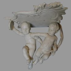 Antique Italian Art Pottery Majolica, Faience Cherub Shelf