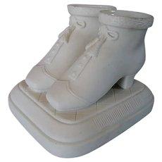 Antique c1870s Parian Porcelain Ladies Shoes, Match Safe
