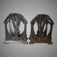 Pair Antique Art Nouveau Letter Holders, Desk Accessory Memo Holders