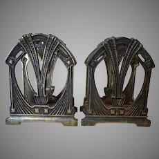 Pair Antique Art Nouveau Letter Holders, Desk Accessory Memo Holders