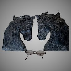 Pair Vintage Horse Head Signs, Plaques, Ornaments, Cast Metal