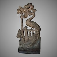 Circa 1925 Greenblatt Studios Peacock Bird Cast Iron Doorstop