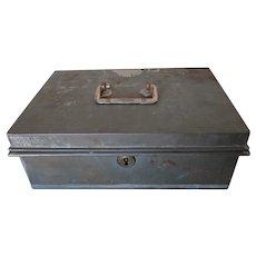 Primitive Antique 19thC Tin Toleware Cash Box, Safe, Money Box, Coin Tray