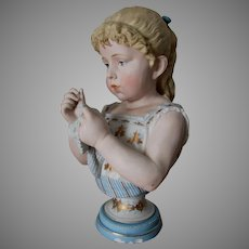 Antique European Bisque Bust of a Pretty Young Girl Crocheting