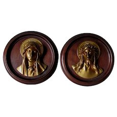 Lovely Christian Plaques Virgin Mary and Jesus, Gilt Metal, Wood