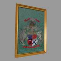 Circa 1930 Beaded Tapestry with Heraldry, Coat of Arm Motif