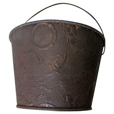 Antique Circa 1900 Embossed Sand Pail, Seaside Toy