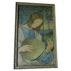 Antique Print, Lady Playing Lute by Malcolm Frasier