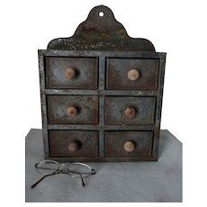Antique Primitive Tin Spice or Apothecary Cabinet, Miniature Wall Cupboard