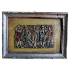Antique German Carved Plaque European Court Motif