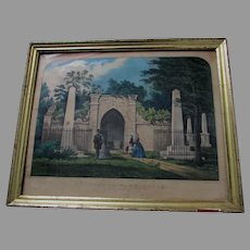 Antique  Currier & Ives Hand Colored Print, Tomb of Washington. Mount Vernon