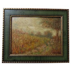 Lovely Antique Impressionistic Landscape of a Trail in Autumn, Signed