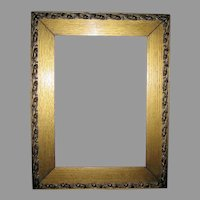 Lovely C 1890s Art Nouveau Gilded Oak Picture Frame with Lily Motif