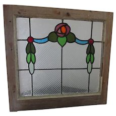 Antique Art Nouveau Stained Glass Window, Architectural