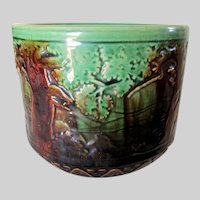 Antique Art Pottery Jardiniere, Planter, Brush McCoy Forest Scene