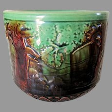 Antique Art Pottery Jardiniere, Planter, Brush McCoy Forest Scene