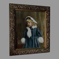 Lovely c1880s Pastel Portrait of Little Girl Aesthetic Movement Picture Frame
