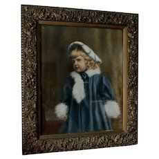 Lovely c1880s Pastel Portrait of Little Girl Aesthetic Movement Picture Frame