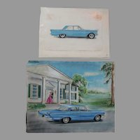 c1950s Automobile Illustrations, Car Advertising, Original Pastel Drawings