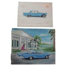 c1950s Automobile Illustrations, Car Advertising, Original Pastel Drawings
