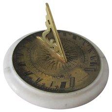 Vintage Brass & Marble Miniature Sundial, Signed R Glynne Fecit