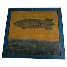 Folk Art, Outsider Art Oil Painting of US Navy Blimp, Zeppelin, Dirigible