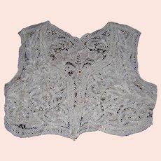 Fine Antique European Lace Vest, Hand Made Lace, Fashion Accessory